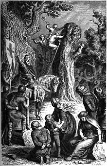 """The destruction of Irminsul by Charlemagne"" (1882) by Heinrich Leutemann. / Wiki"