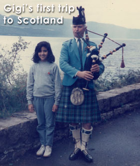 Quicksand 1985-Gigi-with-a-bagpiper-by-Loch-Ness-Scotland-webres-text