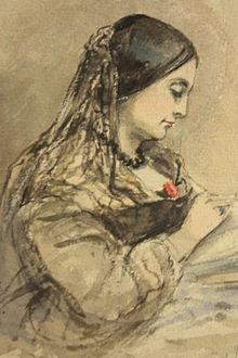 IMAGE _2 Watercolour_sketch_of_Caroline_Norton_by_Emma_Fergusson_1860,_National_Portrait_Gallery_of_Scotland